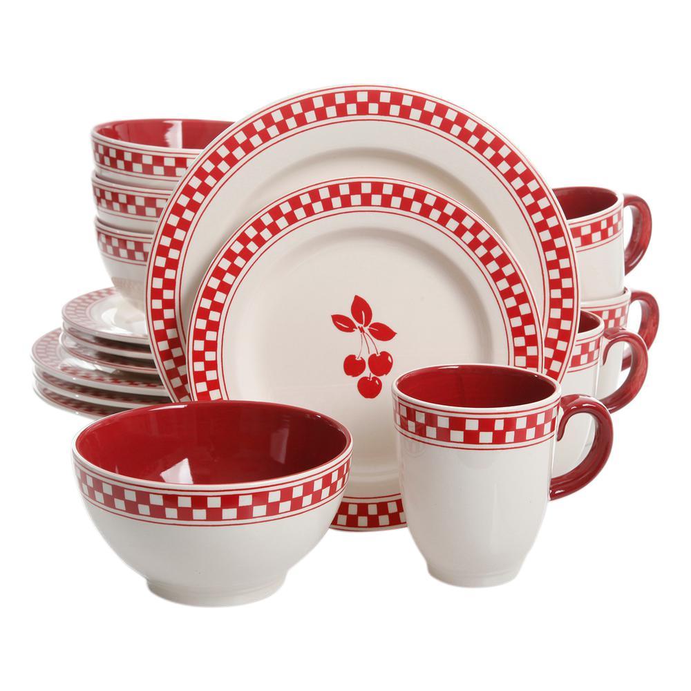 Cherry Diner 16-Piece Dinnerware Set by