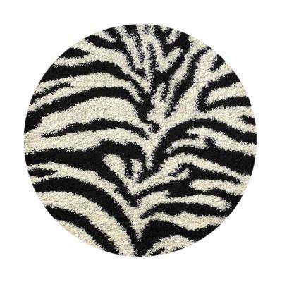 Bella Collection Black 5 ft. x 5 ft. Round Area Rug