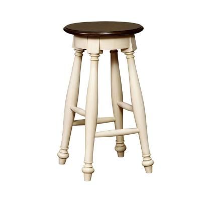 Sabrina Transitional White and Cherry Counter Height Stool (Set of 2)