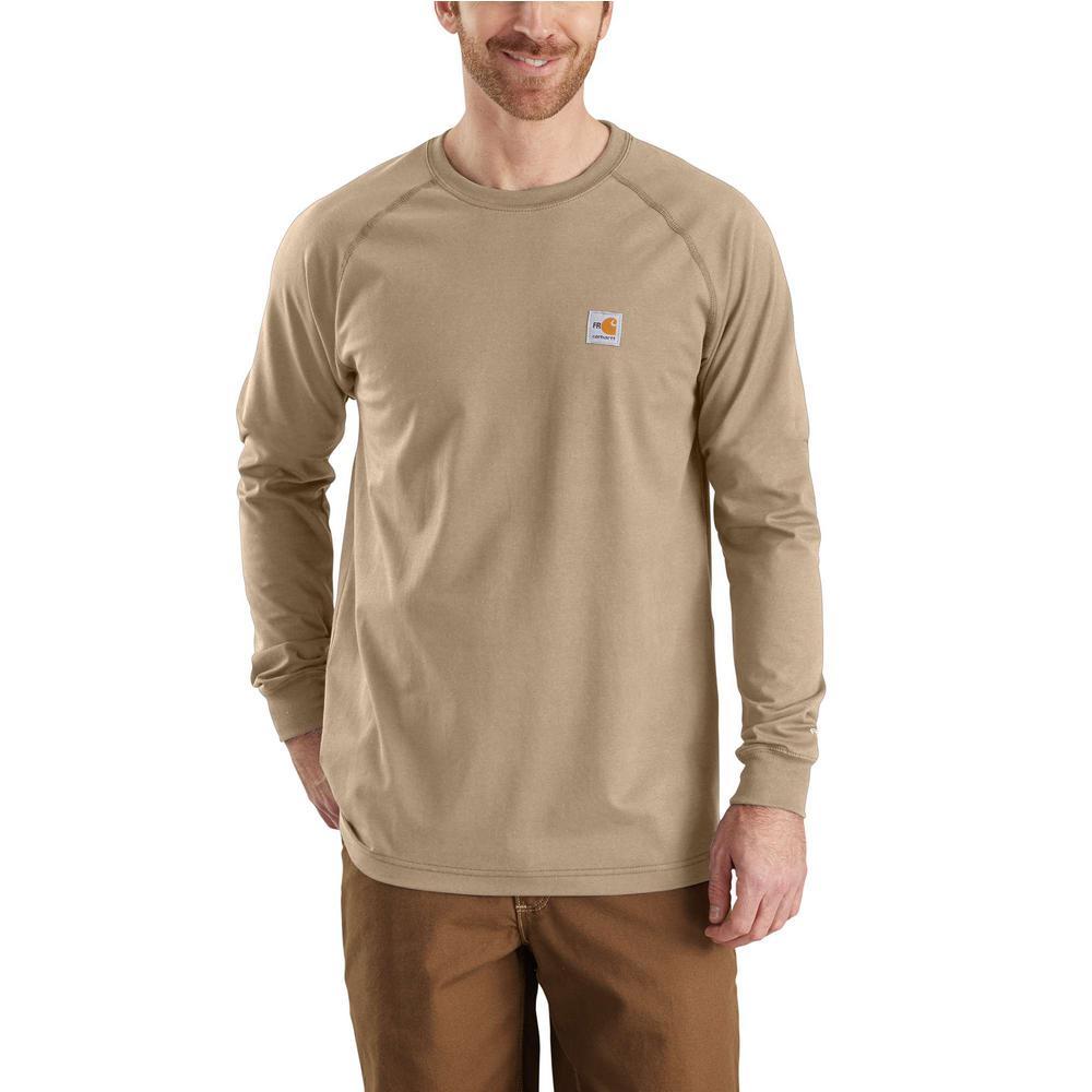 8940230434d5 Carhartt Men s Regular Medium Khaki FR Force Long Sleeve T-Shirt ...