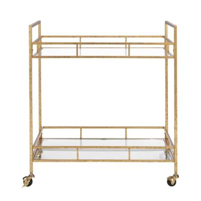 Home Decorators Collection Gold Leaf Metal and Glass Rolling Bar Cart with Glass Top (30 in. W x 33 in. H)