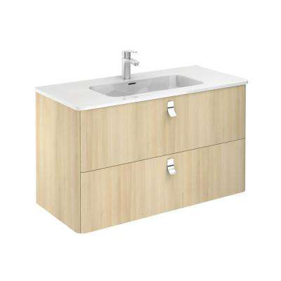 39 in. W x 20 in. D x 23 in. H Bathroom Vanity Unit in Nordic Oak with Vanity Top and Basin in White