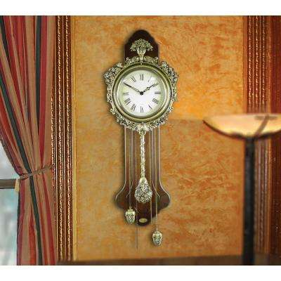 10 in. W x 3 in. D x 26 in. H Elegant Wood Wall Clock with Acorn Pendulum