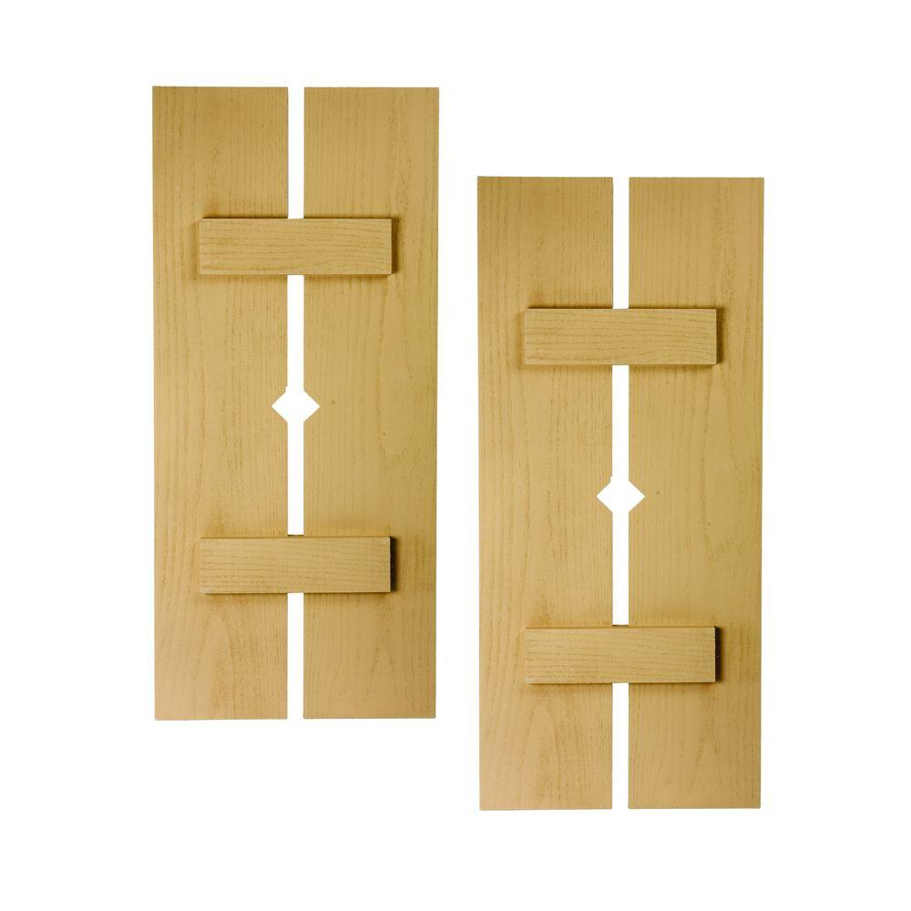 Fypon 40 in. x 18 in. x 1-1/2 in. Polyurethane Timber 2-Plank Shutters with Diamond