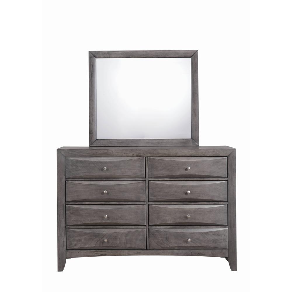 Madison 8-Drawer Gray Dresser with Mirror