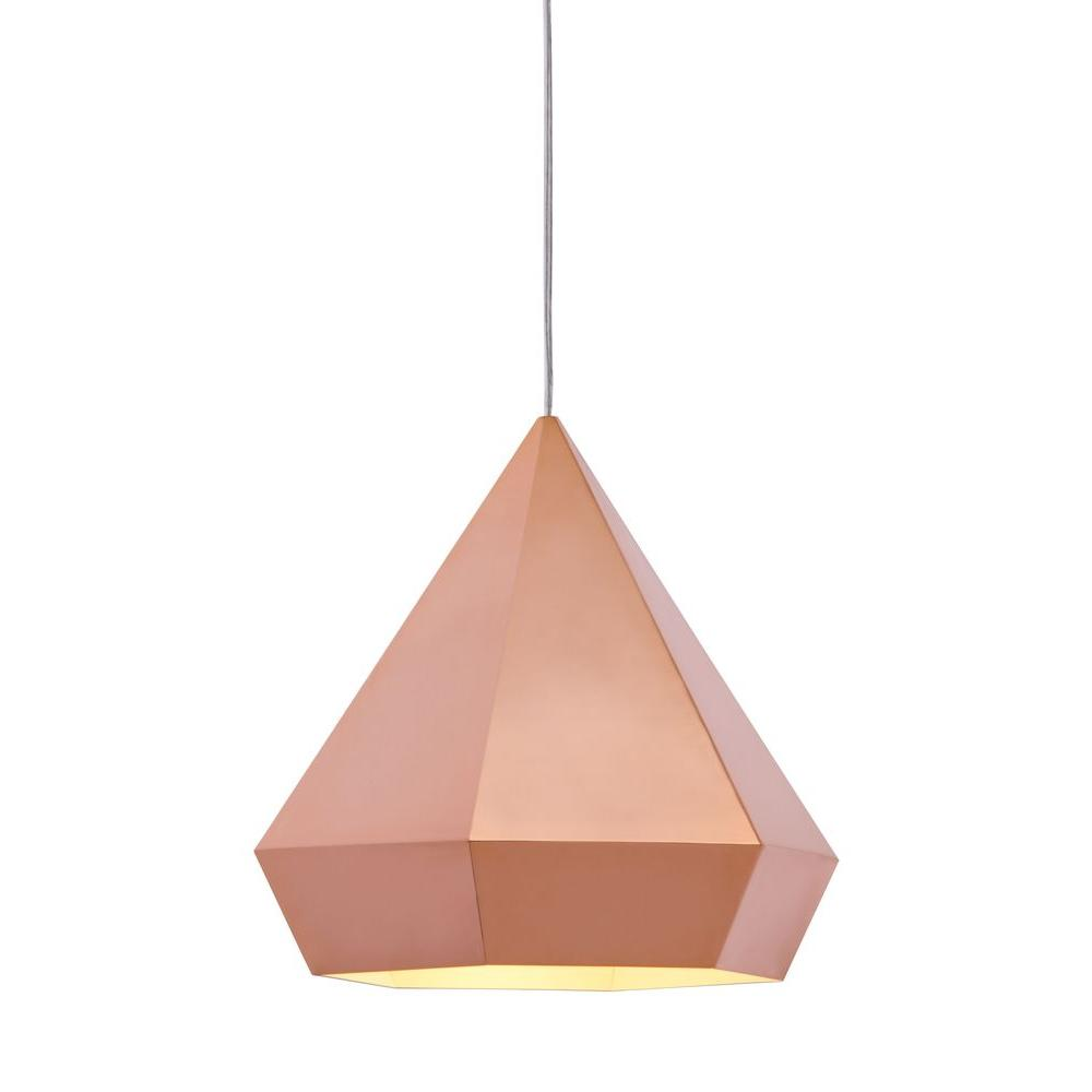 Zuo Forecast 1 Light Rose Gold Ceiling Lamp