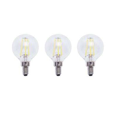 60-Watt Equivalent G16.5 E12 Base Dimmable Clear Filament Vintage Style LED Light Bulb, Soft White (3-Pack)