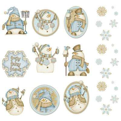 10 in. Happy Snowmen Applique Wall Decal Stickers with Snowflakes