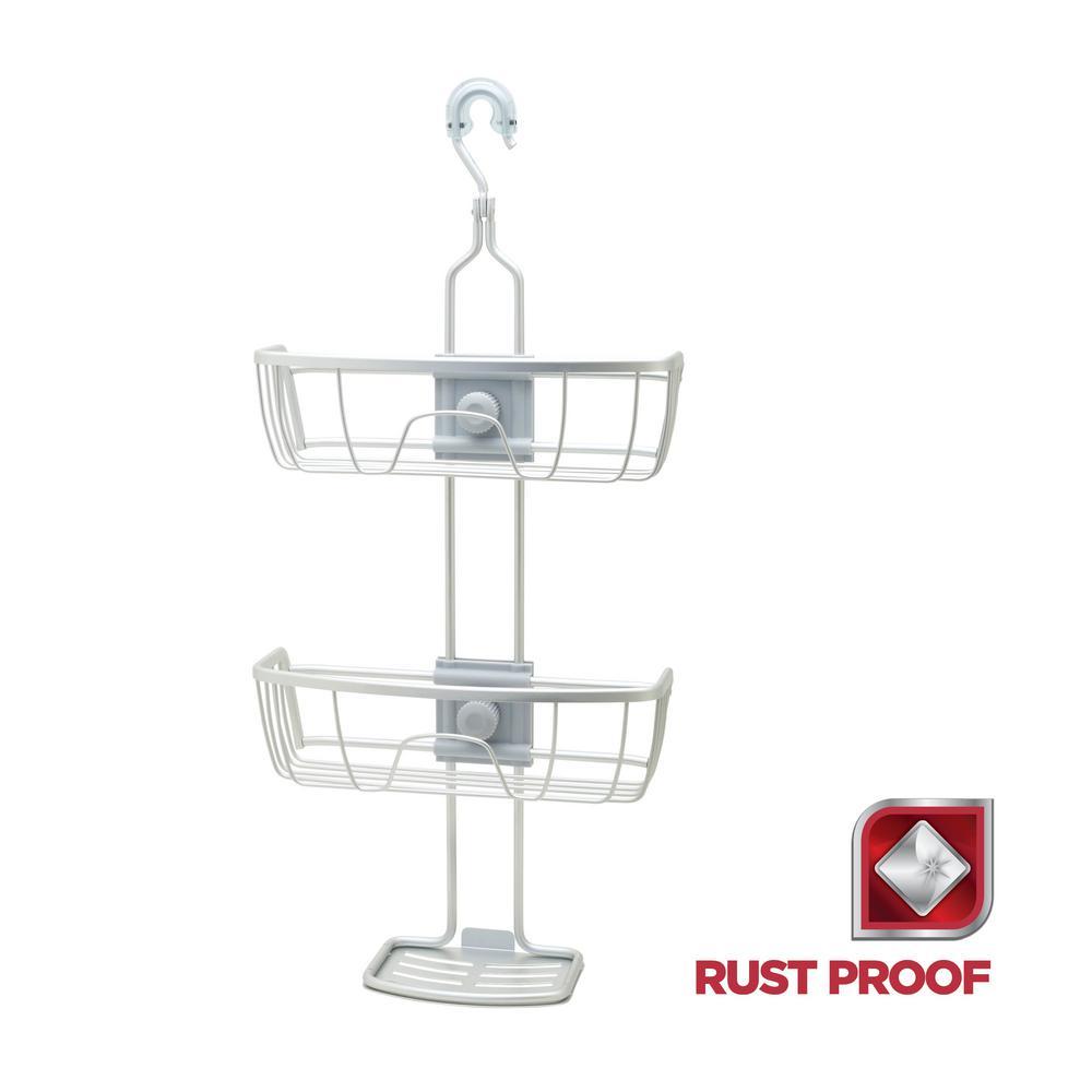 Rustproof 4-Way Adjustable Shower Caddy in Satin Chrome