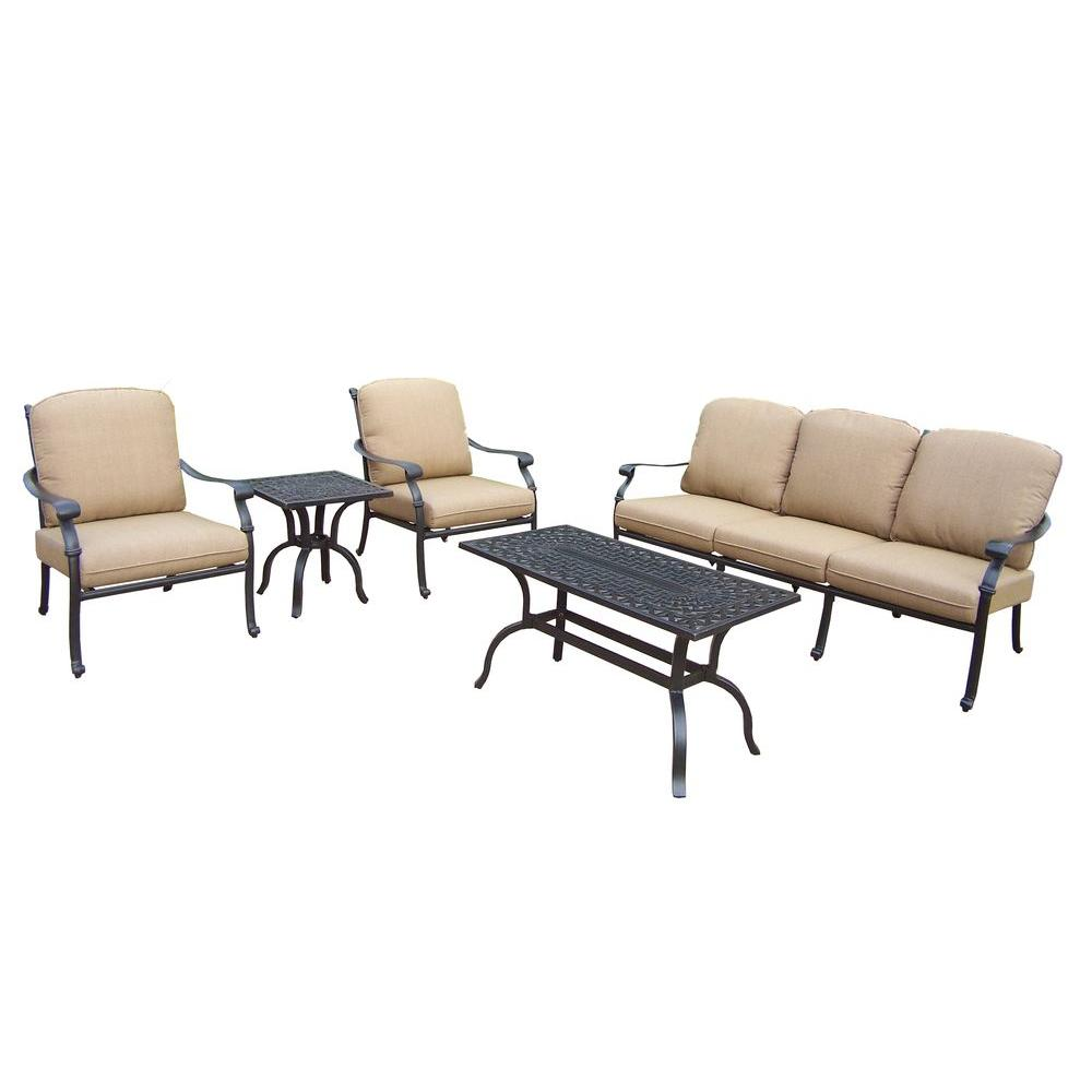 Oakland Living Cast Aluminum 5-Piece Patio Deep Seating Set with SpunPoly Beige Cushions