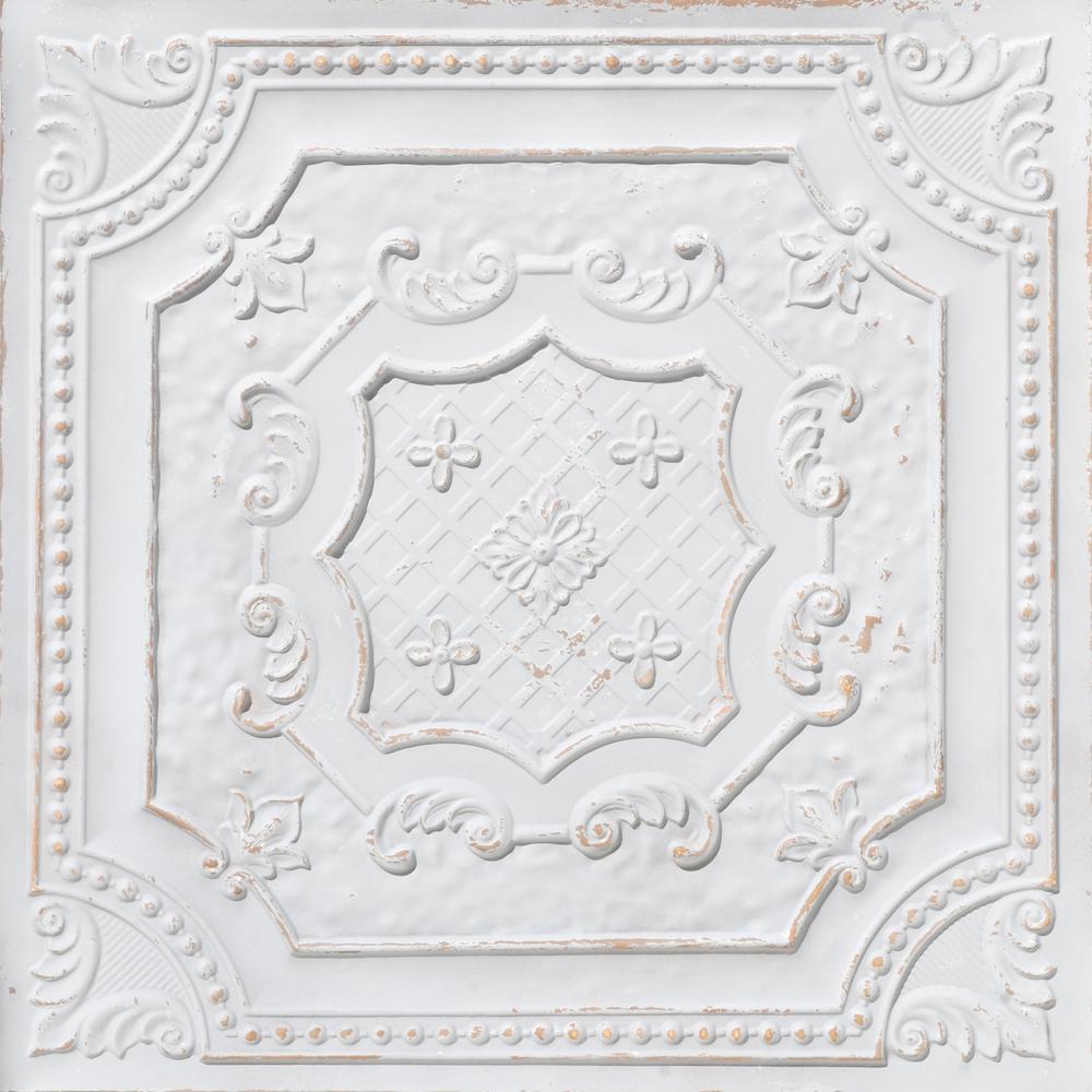 Elizabethan Shield 2 ft. x 2 ft. Glue Up PVC Ceiling Tile in Antique Taupe (100 sq. ft./case)