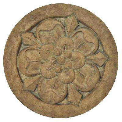 18 in. Round Cast Stone Large Floral Stepping Stone