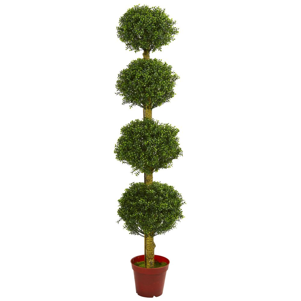 nearly natural 6 in. uv resistant indoor/outdoor 4-tier boxwood Artificial Topiary Trees