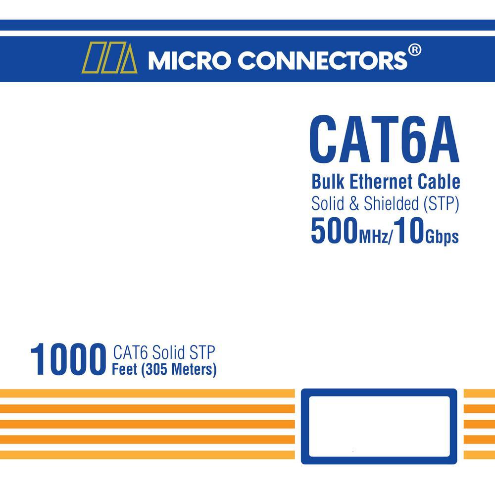 STP TR4-570SH-BL CAT6A Bulk Ethernet Cable Micro Connectors 1000ft Solid Shielded Blue