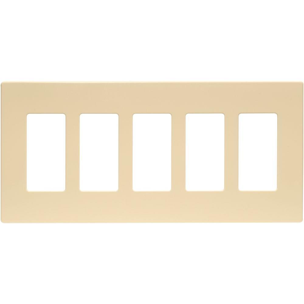 5-Gang Decorator Screwless Wall Plate, Ivory