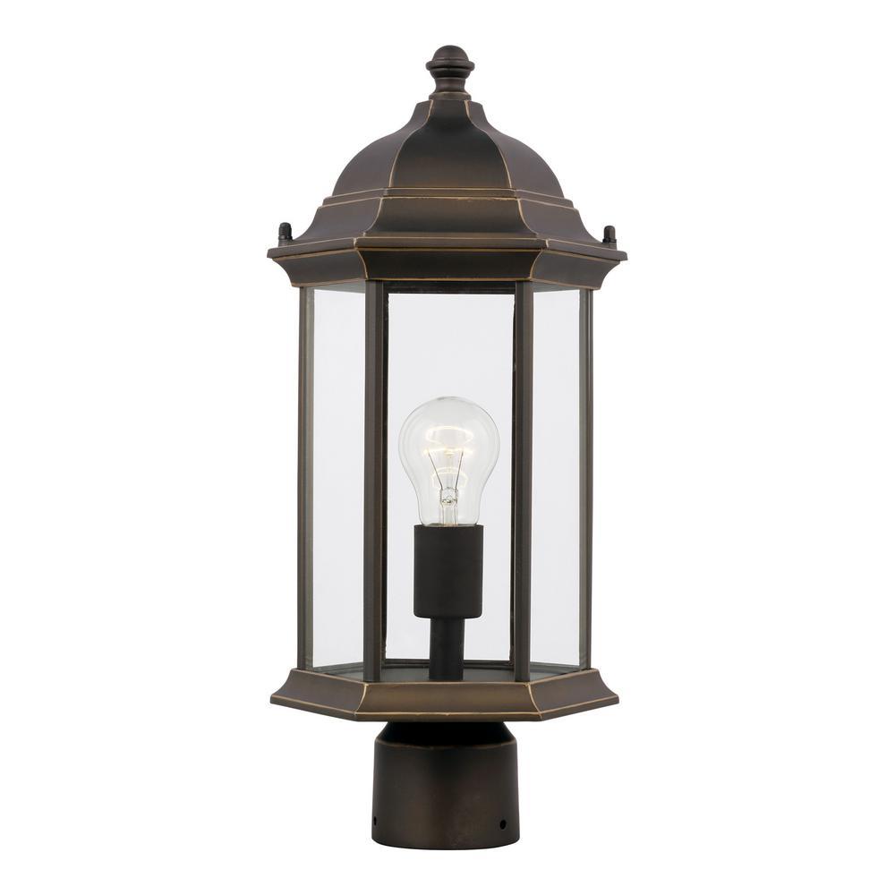 Sevier 1-Light Antique Bronze Outdoor Post Lantern