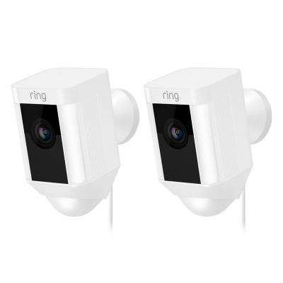 Spotlight Cam Wired Outdoor Rectangle Security Camera, White (2-Pack)