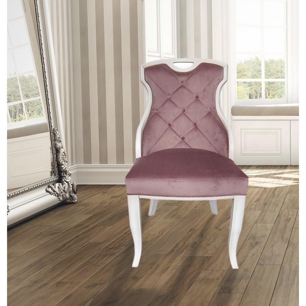 Sofia Rose Quartz Velvet Y Back Dining Chair With Handle Set Of 2