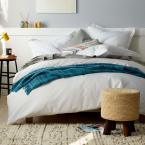 Organic 3-Piece White Solid Cotton Percale King Duvet Cover Set