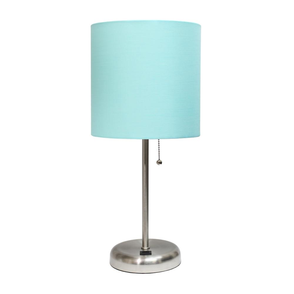 19.5 in. Aqua and Brushed Steel Stick Lamp with USB Charging Port