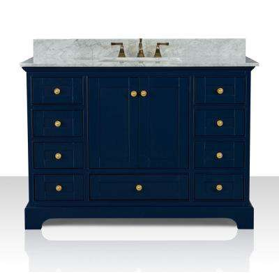 Audrey 48 in. W x 22 in. D Bath Vanity in Heritage Blue w/ Marble Vanity Top in White w/ White Basin and Gold Hardware