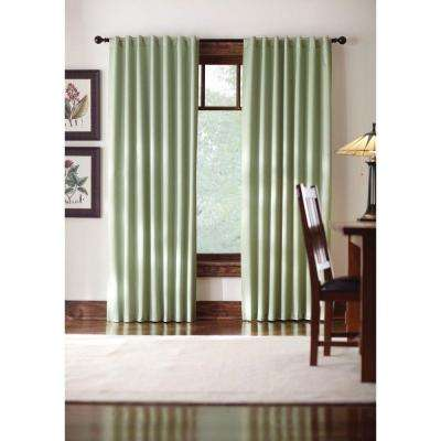 Semi-Opaque Monaco Green Thermal Foam Backed Lined Back Tab Curtain