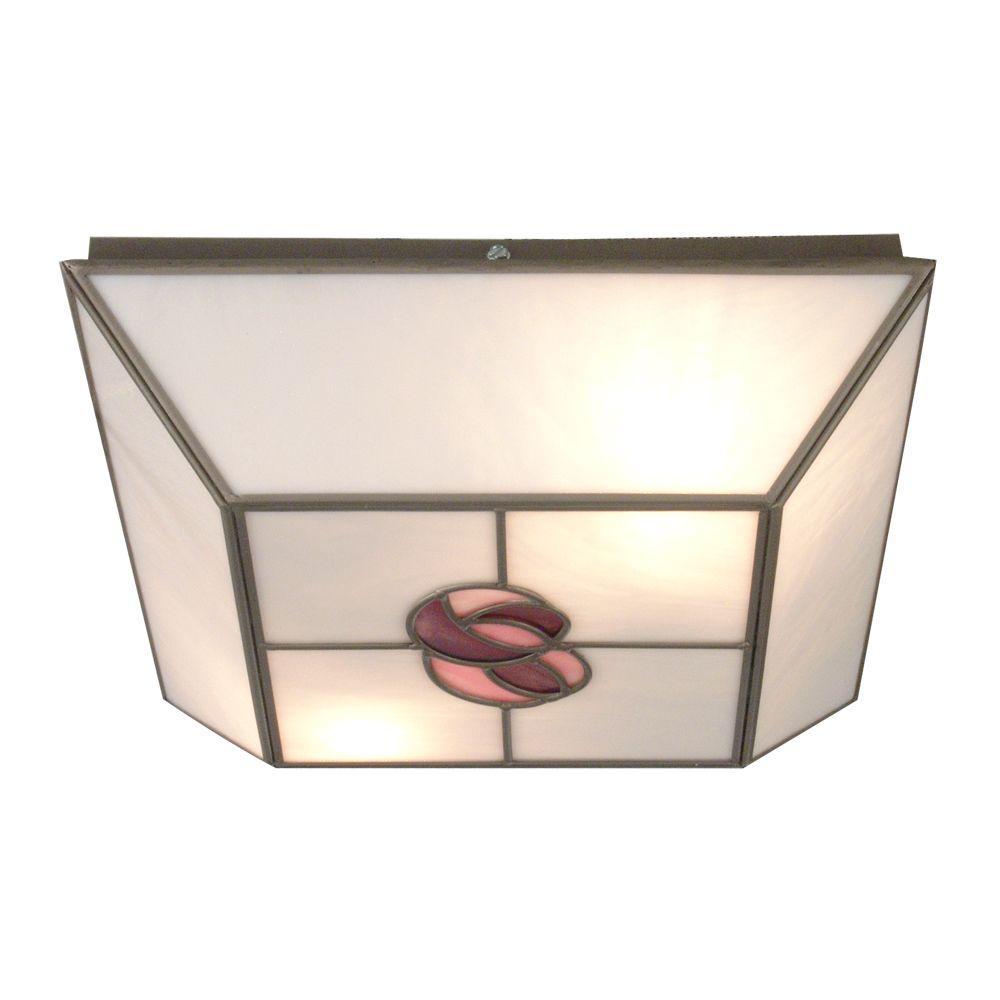 Dale Tiffany Mack Rose 2-Light Silver Flushmount