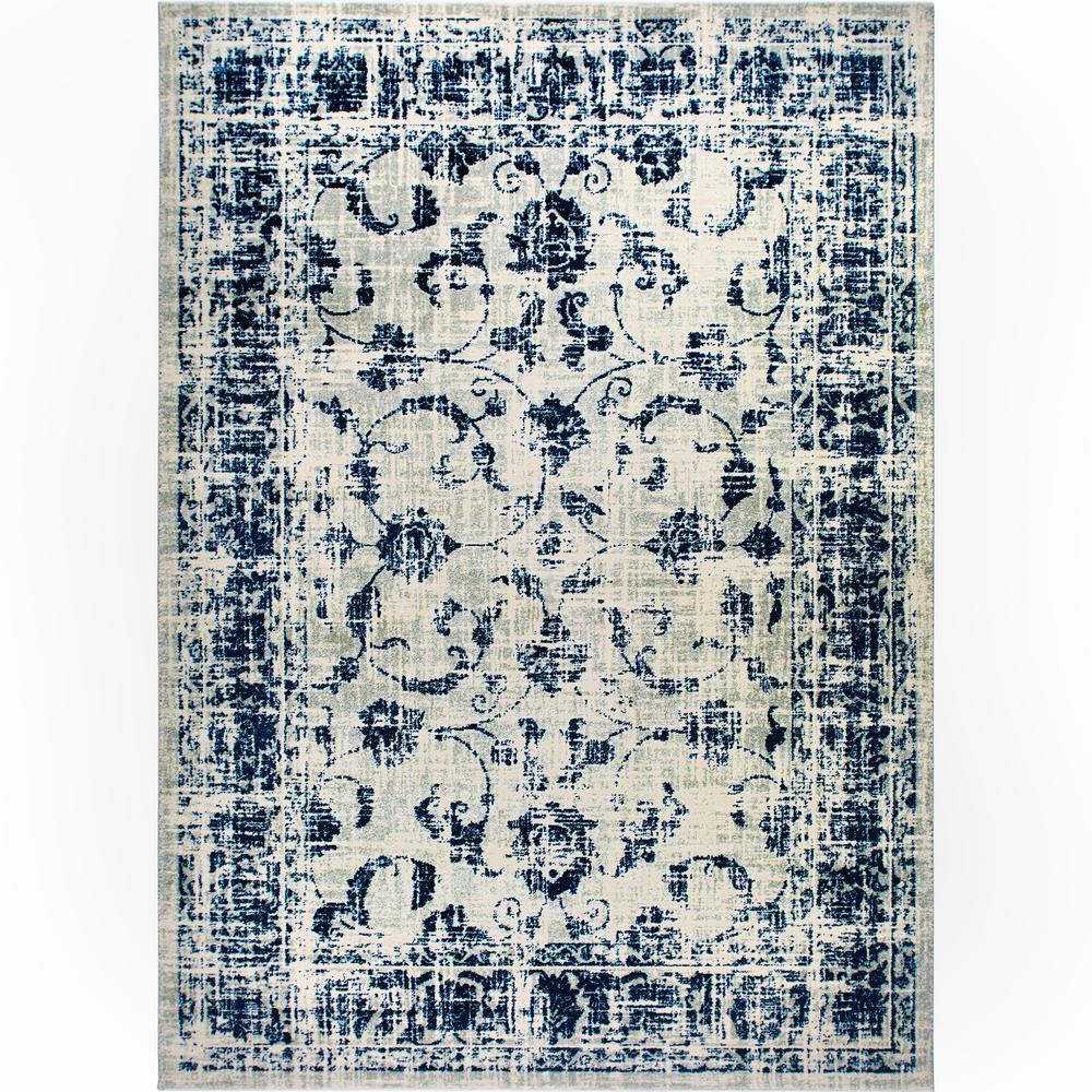 Vintage Gray/Blue 7 ft. x 9 ft. Indoor Area Rug