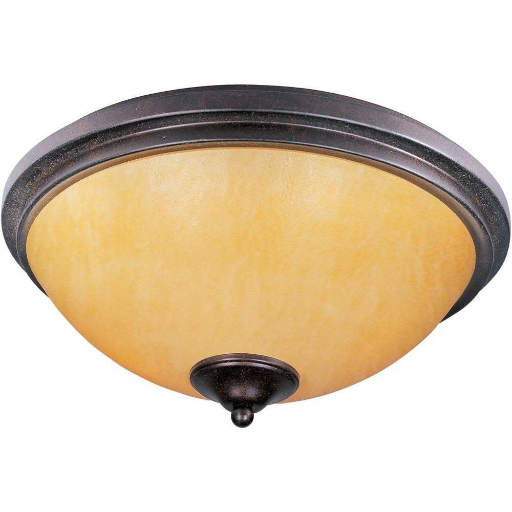 Illumine Parlak 2-Light Rustic Ebony Bowl Flush Mount