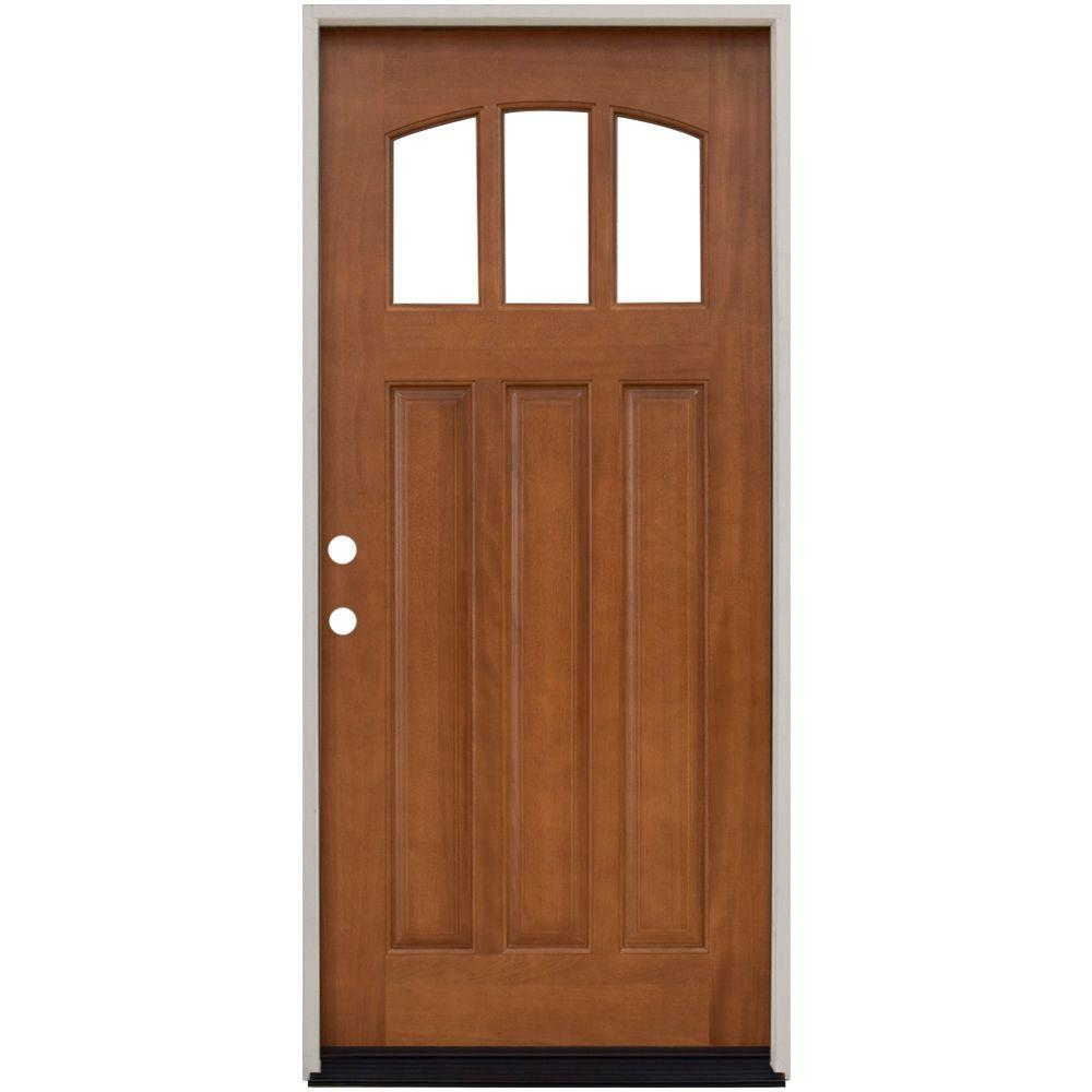 36 in. x 80 in. Craftsman 3 Lite Arch Stained Mahogany  sc 1 st  The Home Depot & Left-Hand/Inswing - Light Brown Wood - Single Door - Wood Doors ...