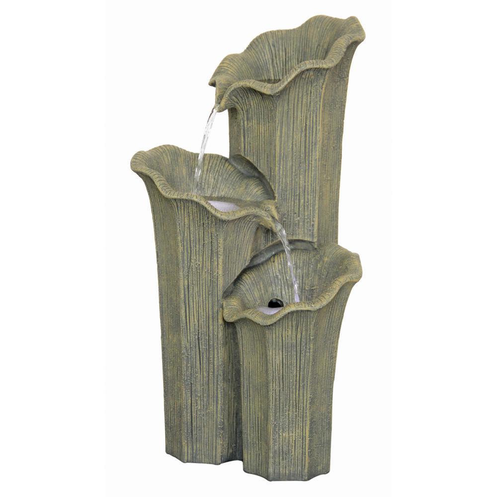 3 Lilies Cascading Ceramic Sculptural Fountain
