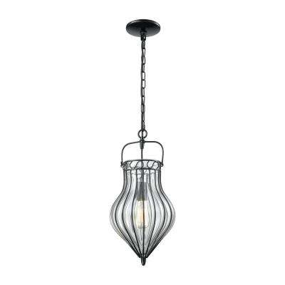 Adriano 1-Light Gloss Black with Clear Blown Glass Pendant
