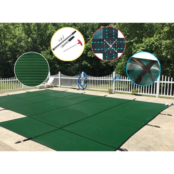 18 ft. x 36 ft. Rectangle Green Mesh In-Ground Safety Pool Cover Right Side Step