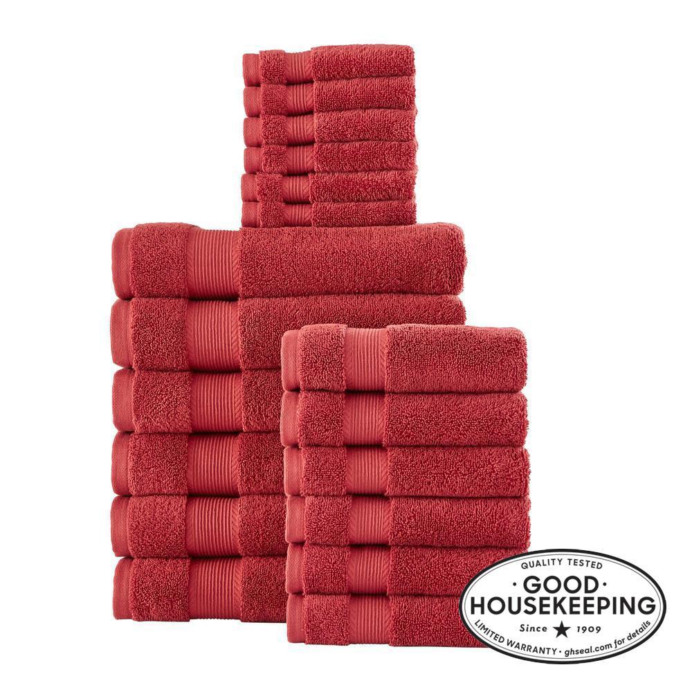 18-Piece Hygrocotton Towel Set in Chili