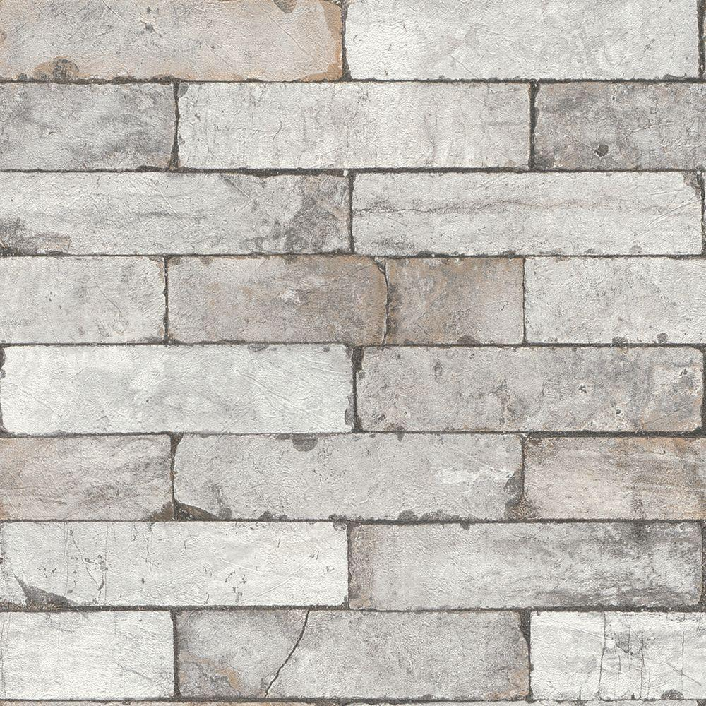 Internet 206409731 Washington Wallcoverings Deep White Toned Faux Brick Vinyl Wallpaper
