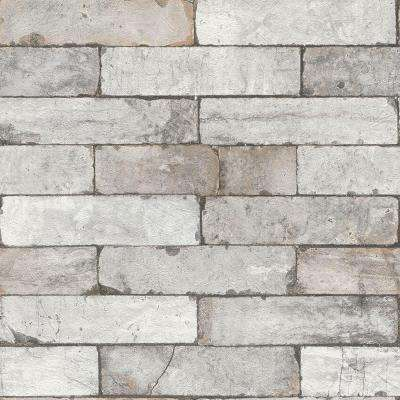Deep White Toned Faux Brick Vinyl Wallpaper