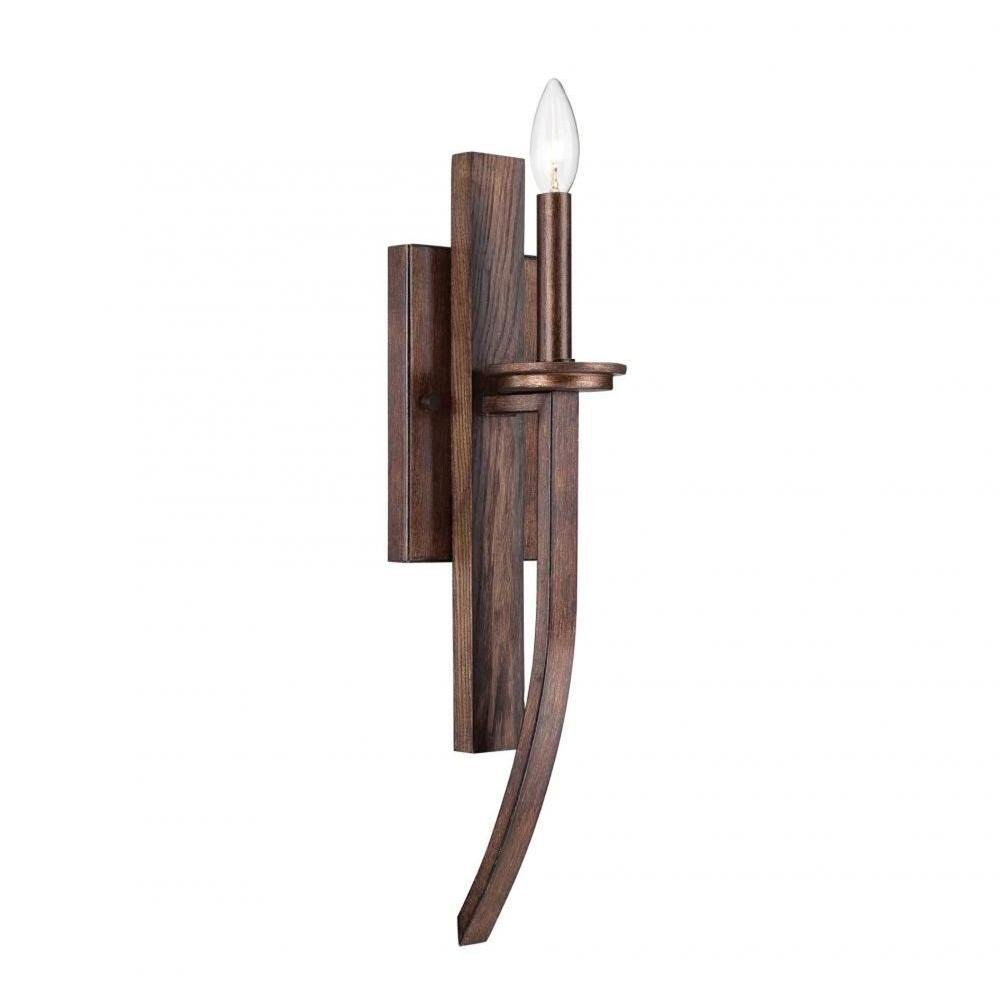 Filament Design Norman Dark Wood and Guilded Bronze Wall Sconce