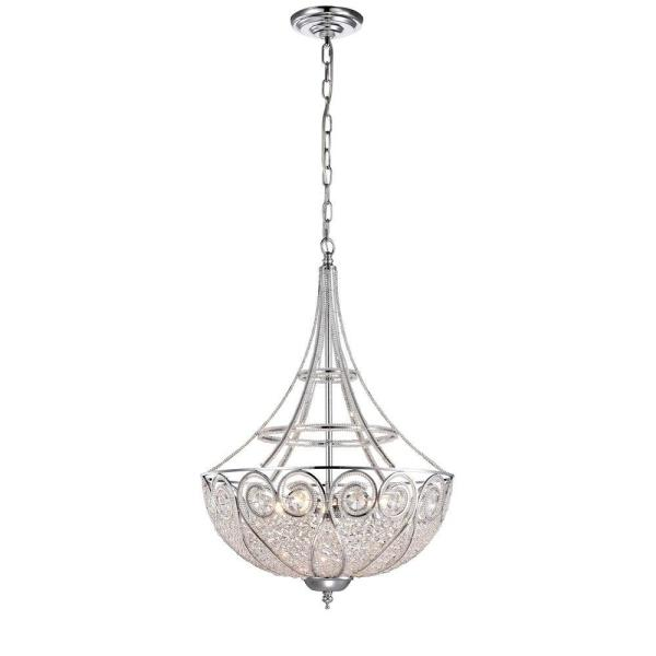 Julio 18 in. 4-Light Indoor Chrome Chandelier with Light Kit