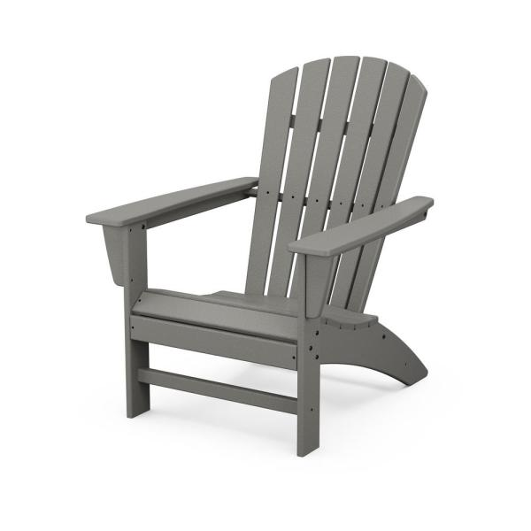 Polywood Grant Park Traditional Curveback Gray Plastic Outdoor Patio Adirondack Chair Ad440gy The Home Depot