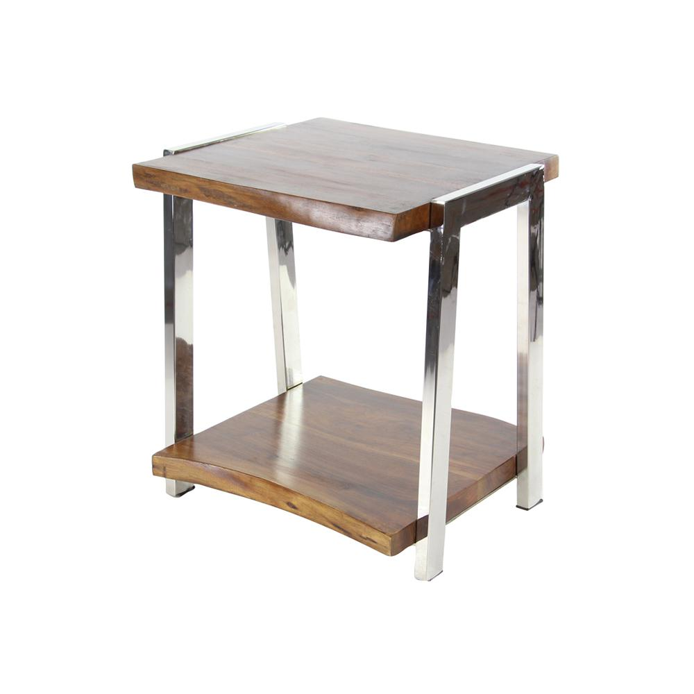 Stained Brown and Silver Side Table