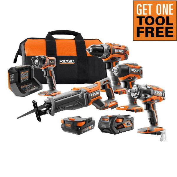 18V Lithium-Ion Brushless 4-Tool Combo Kit with (1)2.0 Battery, (1)4.0 Battery, Charger, Bag w/Free OCTANE Impact Wrench