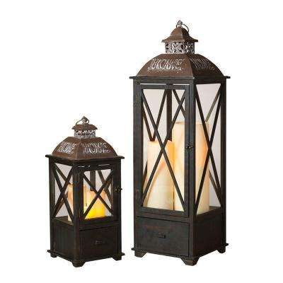 Wood and Metal Home Lantern (Set of 2)