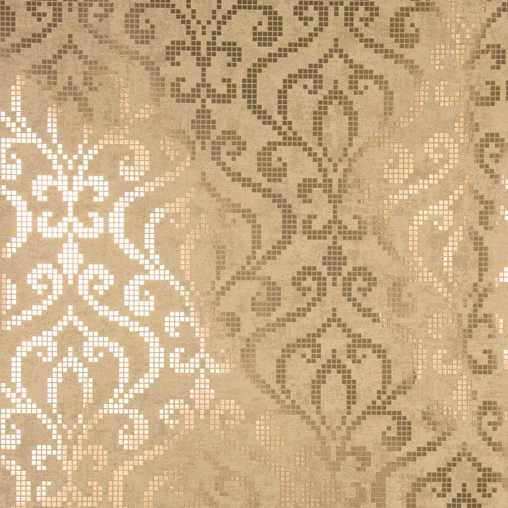 Kenneth James Venus Brass Foil Mini Damask Wallpaper
