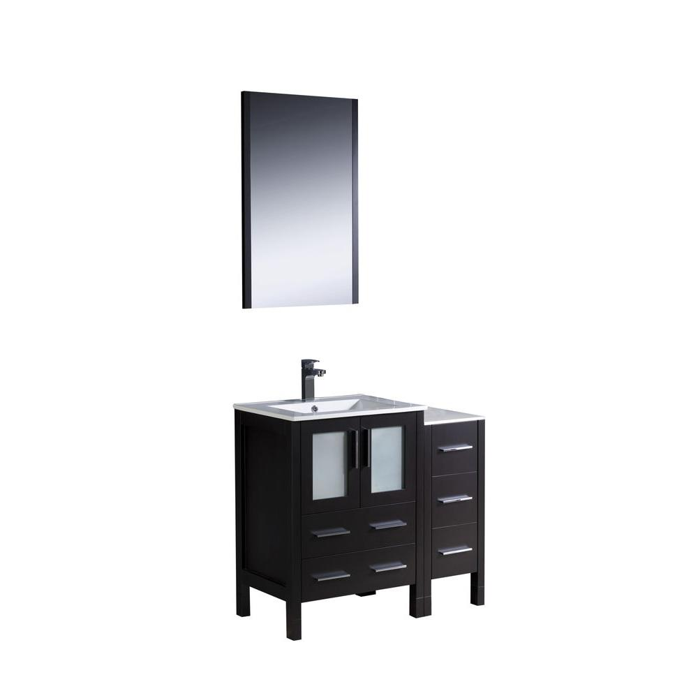 Torino 36 in. Vanity in Espresso with Ceramic Vanity Top in