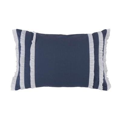 Trellis Blue Ruffled Polyester 12 in. x 18 in. Decorative Throw Pillow