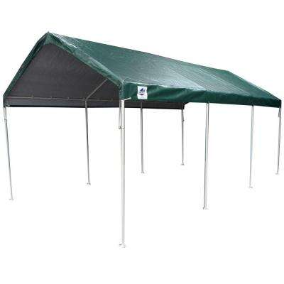 Hercules 10 ft. W x 20 ft. D Steel Canopy in Green