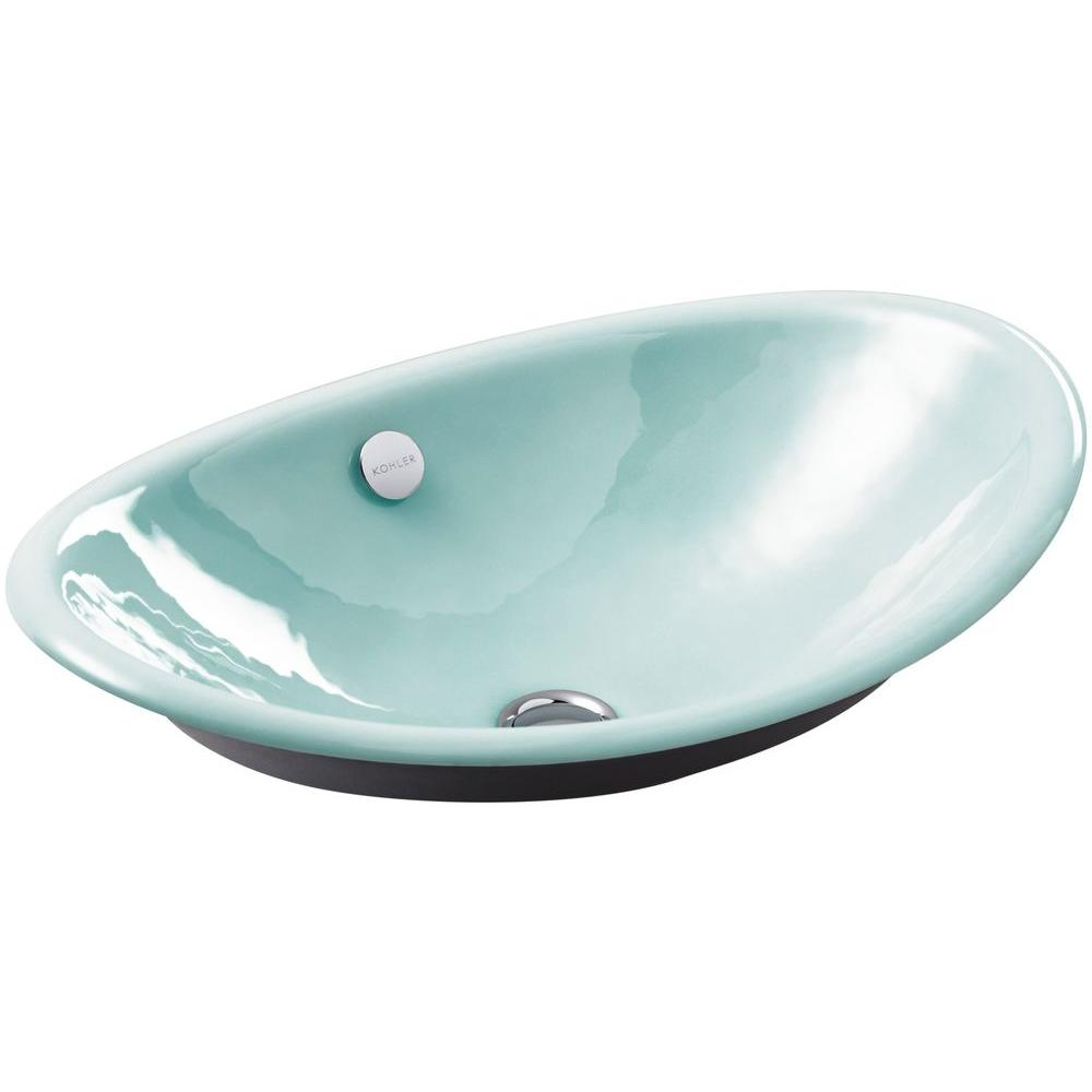 KOHLER Iron Plains Above Counter Cast Iron Bathroom Sink with Black ...