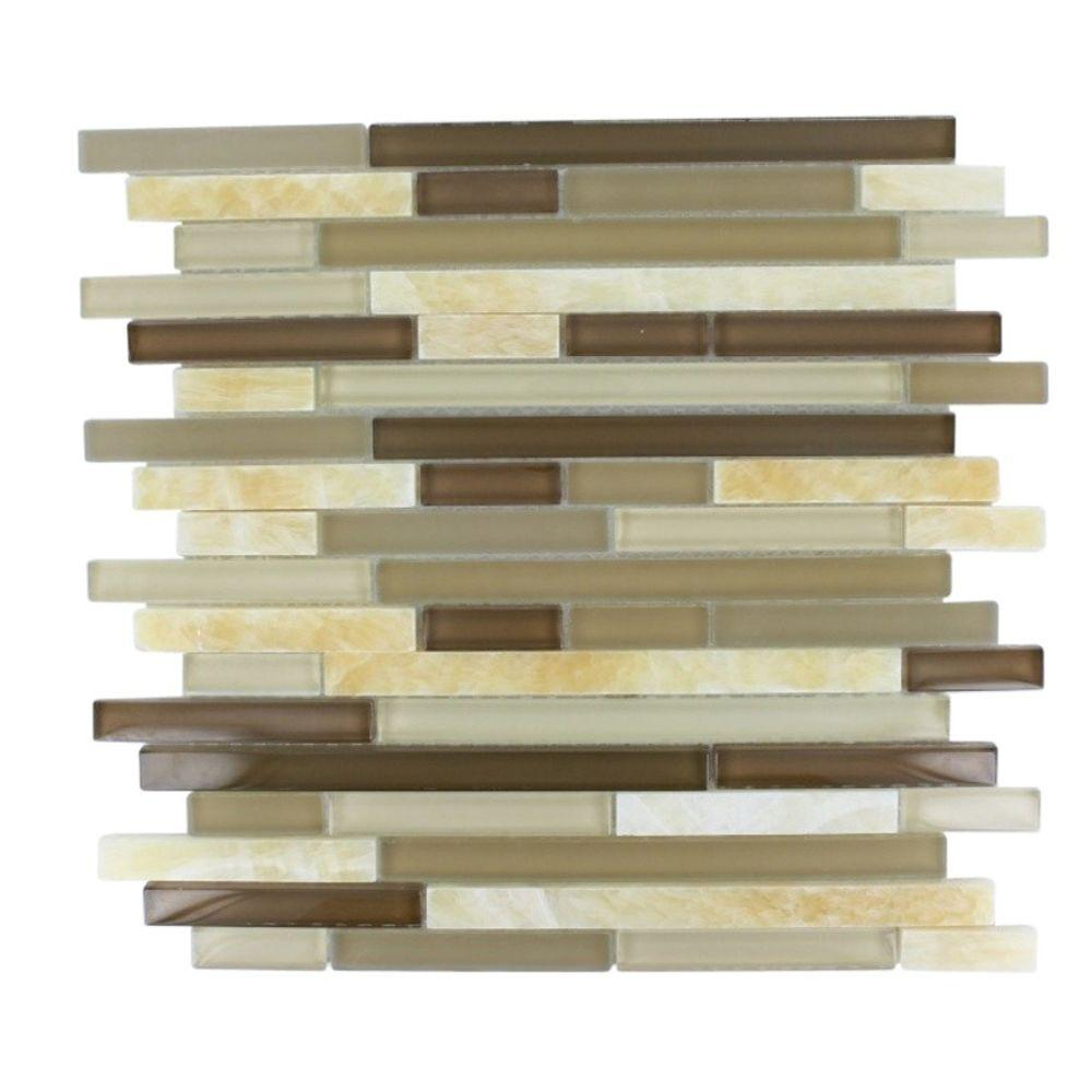 Splashback Tile Temple Taffee 12 in. x 12 in. x 8 mm Marble and Glass Mosaic Floor and Wall Tile