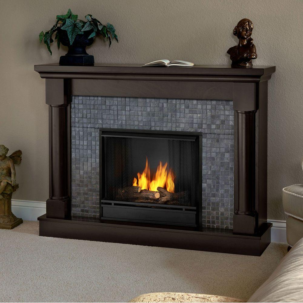 Real Flame Bennett 53 in. Gel Fuel Fireplace in Dark Walnut-DISCONTINUED