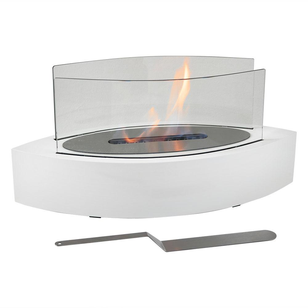 Barco 20 in. Tabletop Bio-Ethanol Fireplace in White
